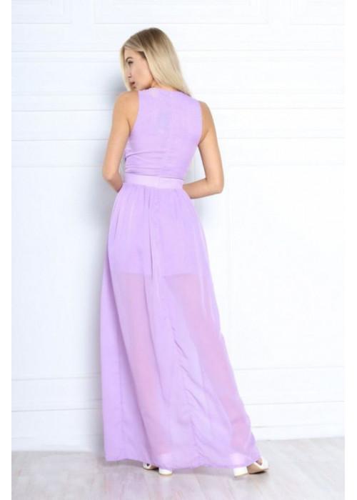 Шифоновое платье макси с высоким разрезом, сирень