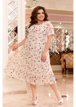 Шифоновое платье с цветочным принтом, молочный