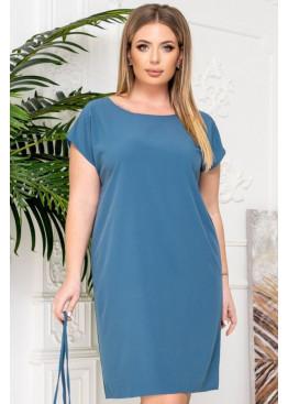 Платье-футболка с поясом, синий