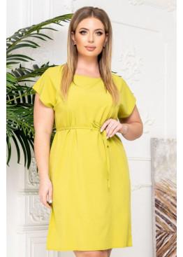 Платье-футболка с поясом, желтый