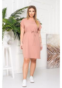 Платье-футболка с поясом, розовый