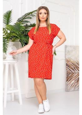 Платье-футболка с поясом, красный в горох