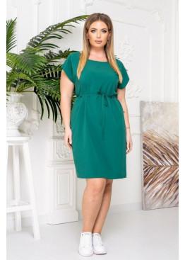 Платье-футболка с поясом, зеленый