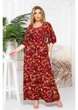 Платье макси с вырезами на рукавах, бордовый