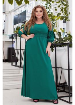 Платье макси с вырезами на рукавах, зеленый