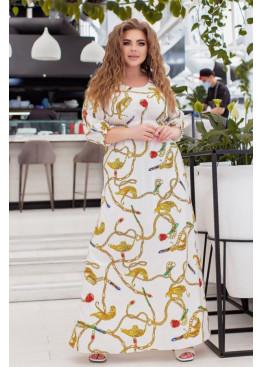 Платье макси с вырезами на рукавах, белый