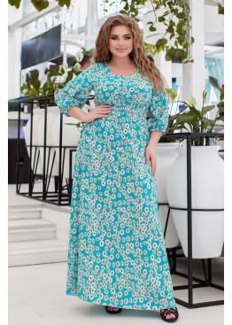 Платье макси с вырезами на рукавах, ментоловий