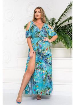 Платье макси с запахом и вырезами на плечах, бирюзовый в цветы