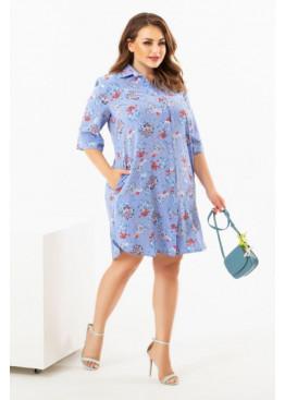 Платье-рубашка с цветочным принтом, голубой