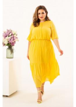 Шифоновое платье миди, желтый