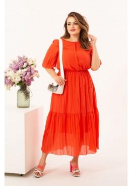 Шифоновое платье миди, красный