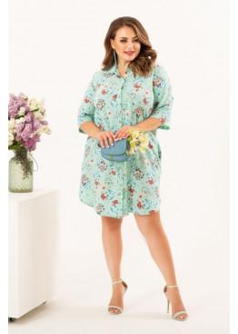 Платье-рубашка с цветочным принтом, ментоловый