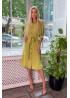 Платье-рубашка с объемными рукавами, оливка