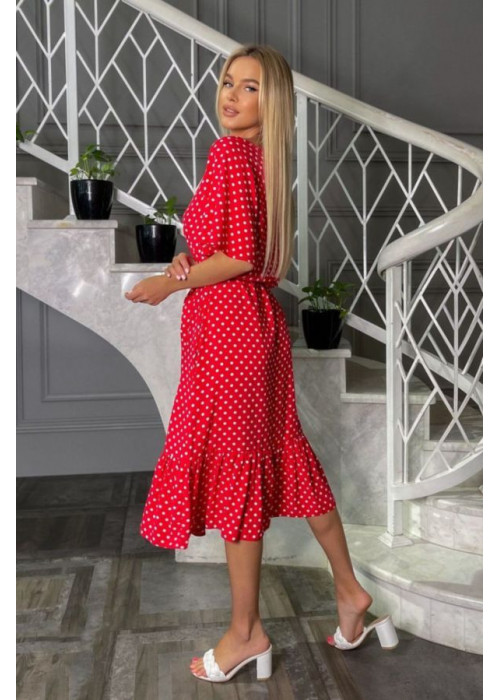 Платье миди с принтом в горох и рукавами, крылышками, красное