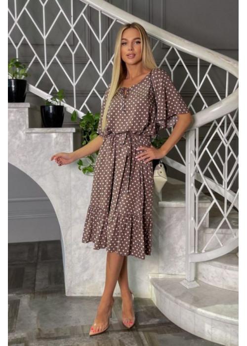 Платье миди с принтом в горох и рукавами, крылышками, капучино