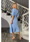 Платье миди с принтом в горох и рукавами, крылышками, голубое