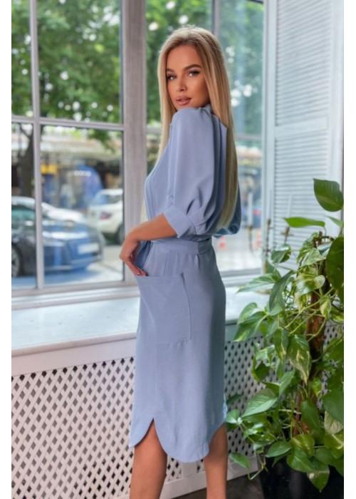 Платье-рубашка с объемными рукавами, голубое