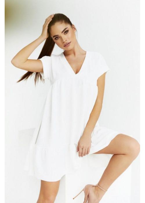 Платье оверсайз мини с V-образным вырезом, белое