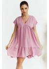 Платье оверсайз мини с V-образным вырезом, розовое