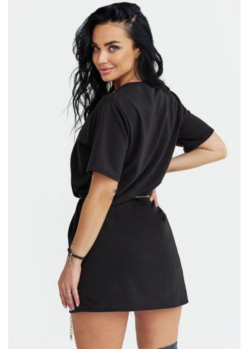 Платье-футболка оверсайз с поясом-цепочкой, черное