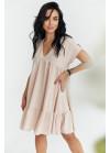 Платье оверсайз мини с V-образным вырезом, беж