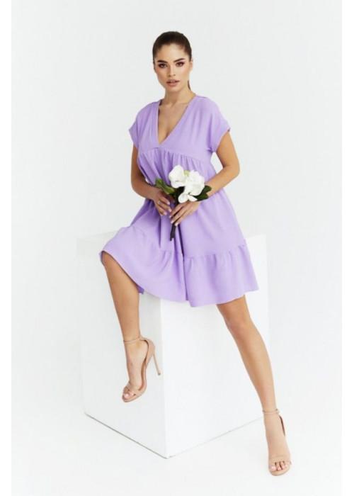 Платье оверсайз мини с V-образным вырезом, сирень