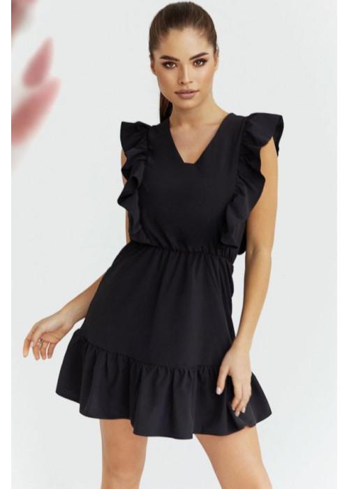 Платье мини с отделкой оборками, черное