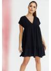 Платье оверсайз мини с V-образным вырезом, черное