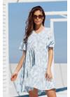 Ярусное платье мини с V-образным вырезом, голубое
