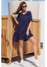 Ярусное платье мини с V-образным вырезом, синее в горох