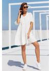 Ярусное платье мини с V-образным вырезом, белое