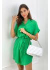 Платье-рубашка минис поясом, зеленое