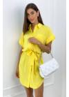Платье-рубашка минис поясом, желтое