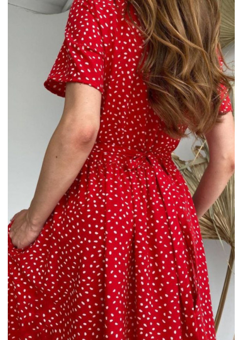 Платье миди с талией на завязках, красное
