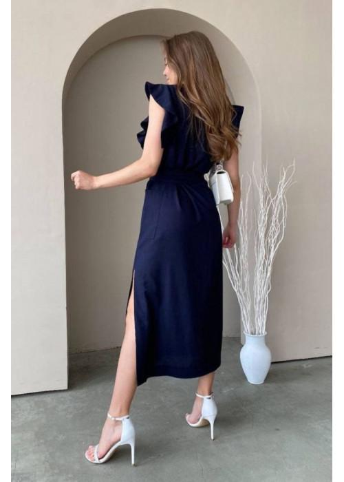 Льняное платье миди с поясом, синее