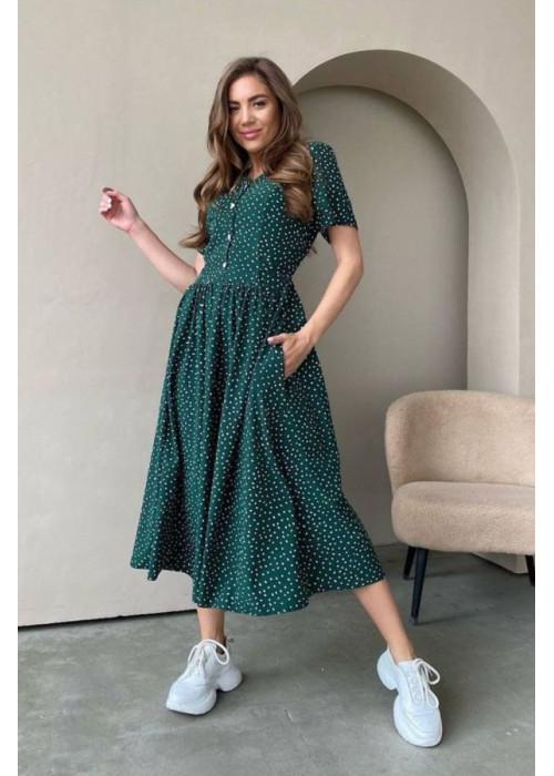 Платье миди с талией на завязках, зеленое