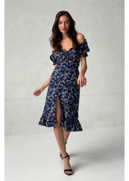 Платье с высоким разрезом, синий в цветы
