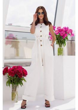 Льняной комбинезон с брюками-палаццо, белый
