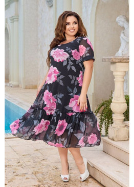 Шифоновое платье с цветочным принтом, черный