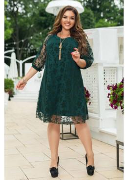Платье А-силуэта с объёмными рукавами, зеленый