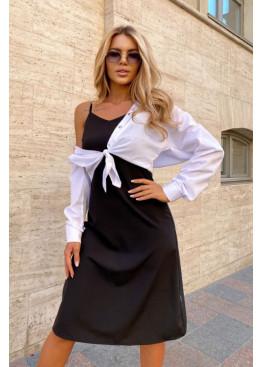 Комплект из платья-комбинации и рубашки, черный