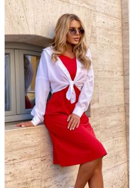 Комплект из платья-комбинации и рубашки, красный