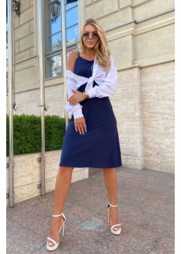 Комплект из платья-комбинации и рубашки, синий