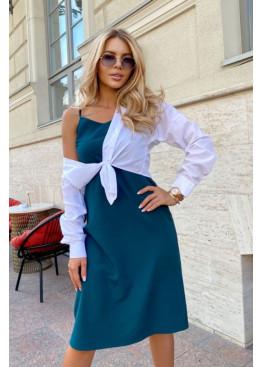 Комплект из платья-комбинации и рубашки, бирюзовый