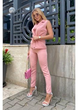 Костюм из жилета с поясом и брюк, розовый