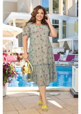 Шифоновое платье с цветочным принтом, оливковий
