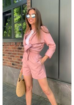 Льняной комплект из рубашки и шорт, розовый
