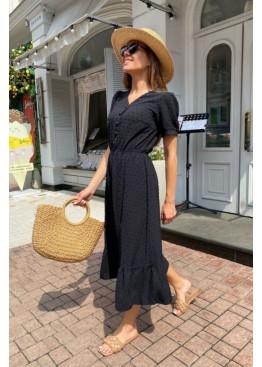 Платье миди из жатого крепа с фактурной отделкой, черный