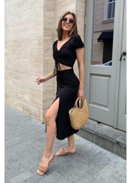 Комплект из кроп-топа и юбки миди, черный