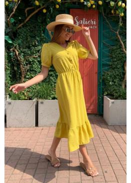 Платье миди из жатого крепа с фактурной отделкой, желтый